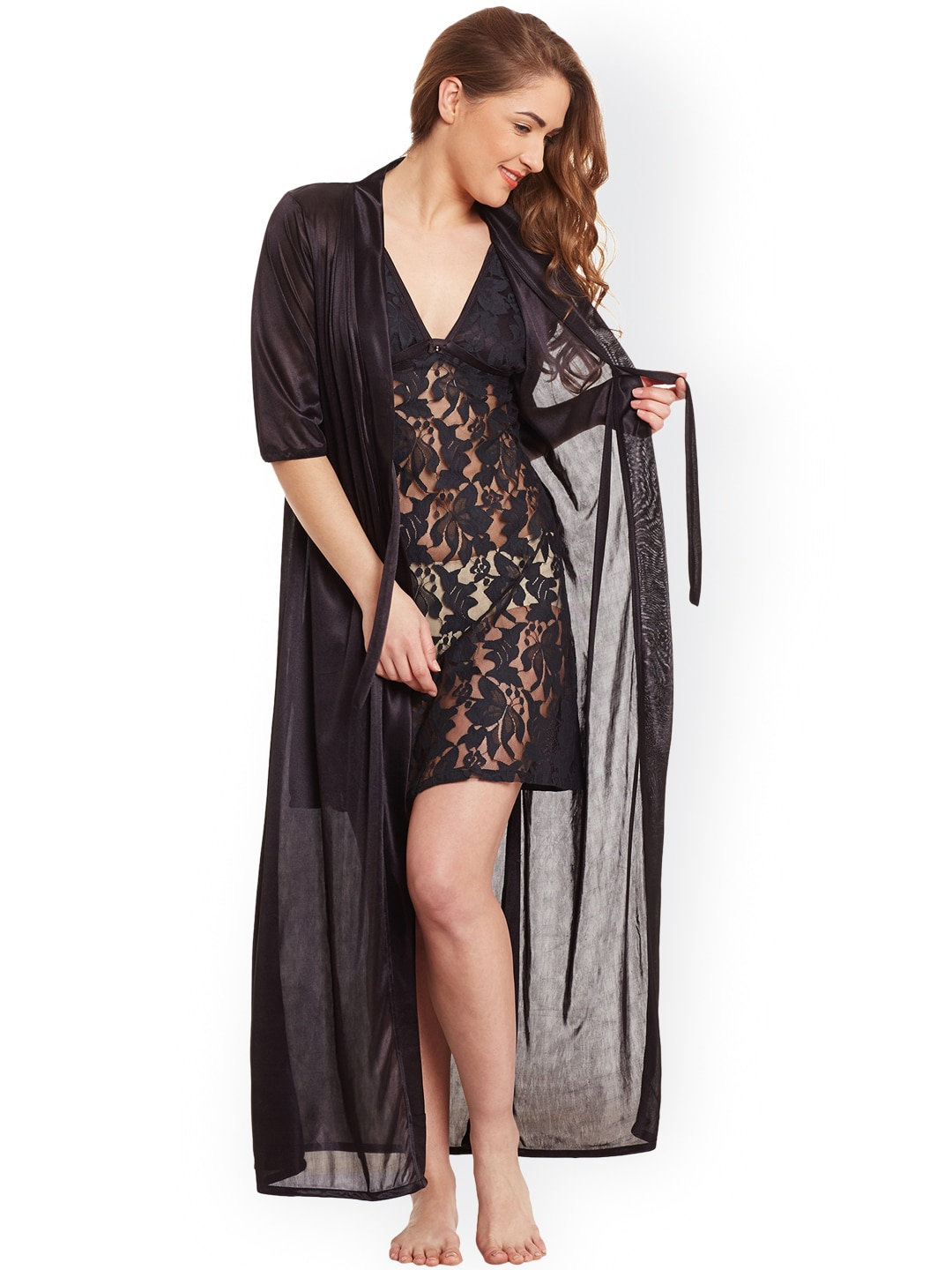 Claura Black Lace Satin Nightdress with Robe ST-20