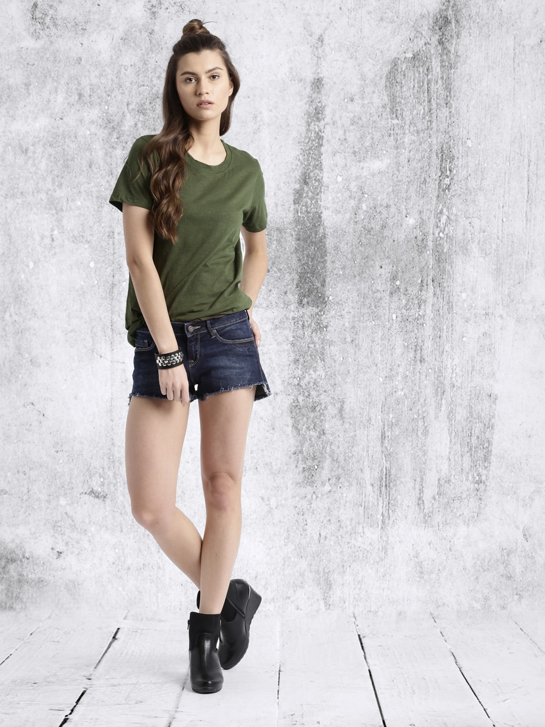 Roadster Women Olive Green T-shirt
