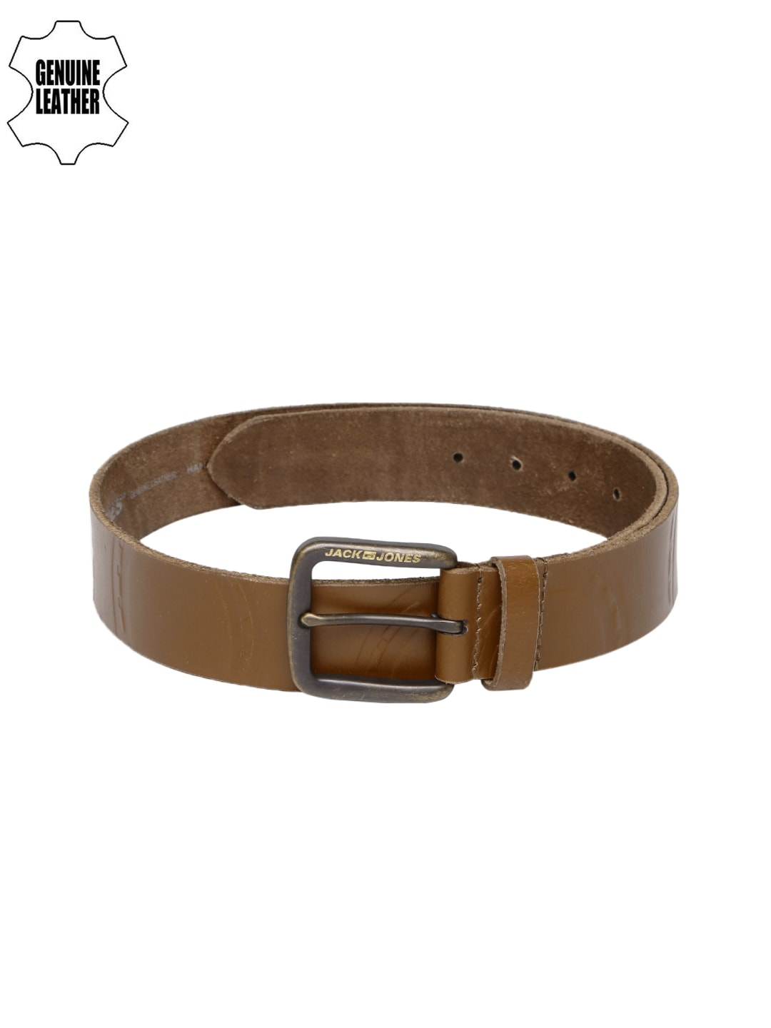 Jack & Jones Men Tan Brown Alexandra Genuine Leather Belt