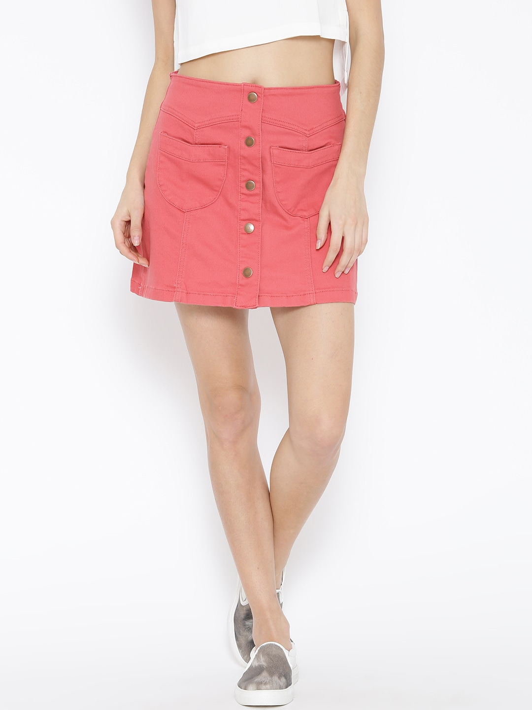 Buy Forever 21 Rust Orange Denim Skirt - Skirts for Women | Myntra