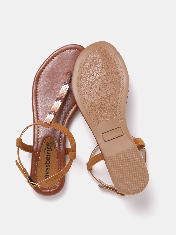 DressBerry Women Tan Brown Embellished Flats