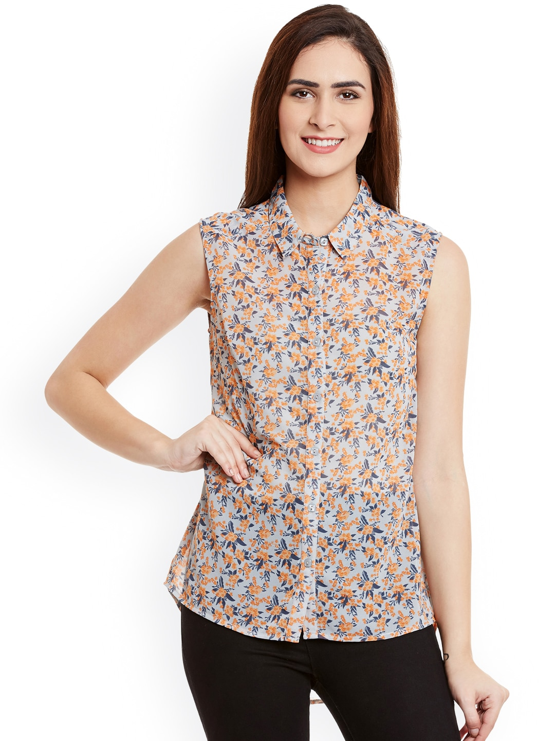 Ruhaans Women Grey Comfort Fit Floral Print Casual Shirt