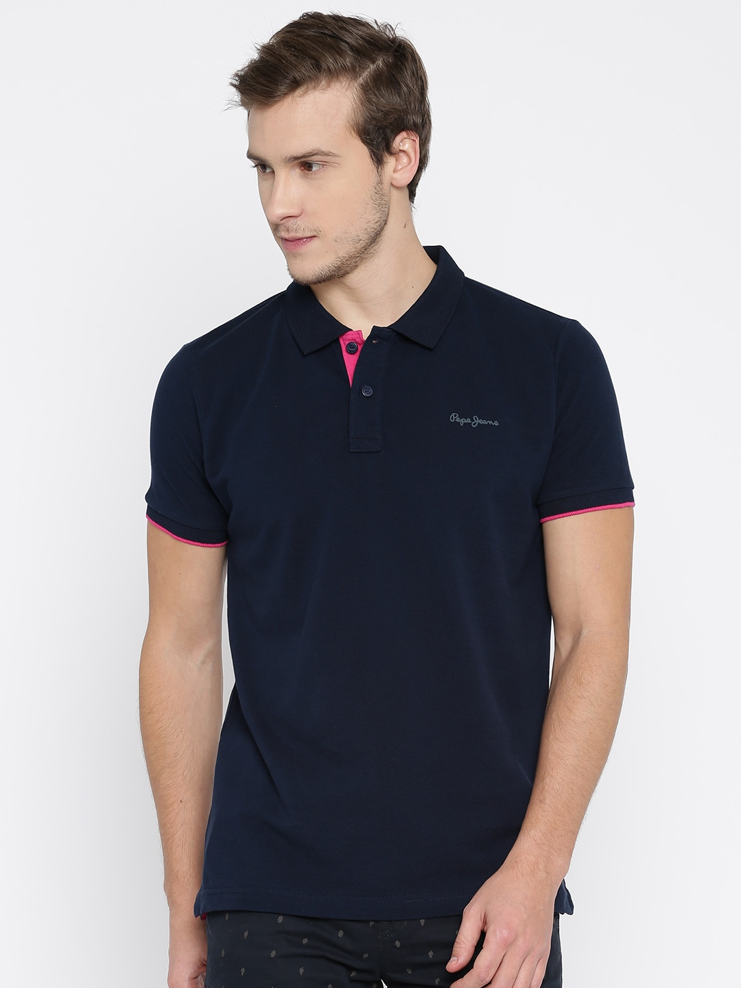 Black t shirt navy jeans - Buy Pepe Jeans Men Black Solid Polo Collar T Shirt Tshirts For Men Myntra