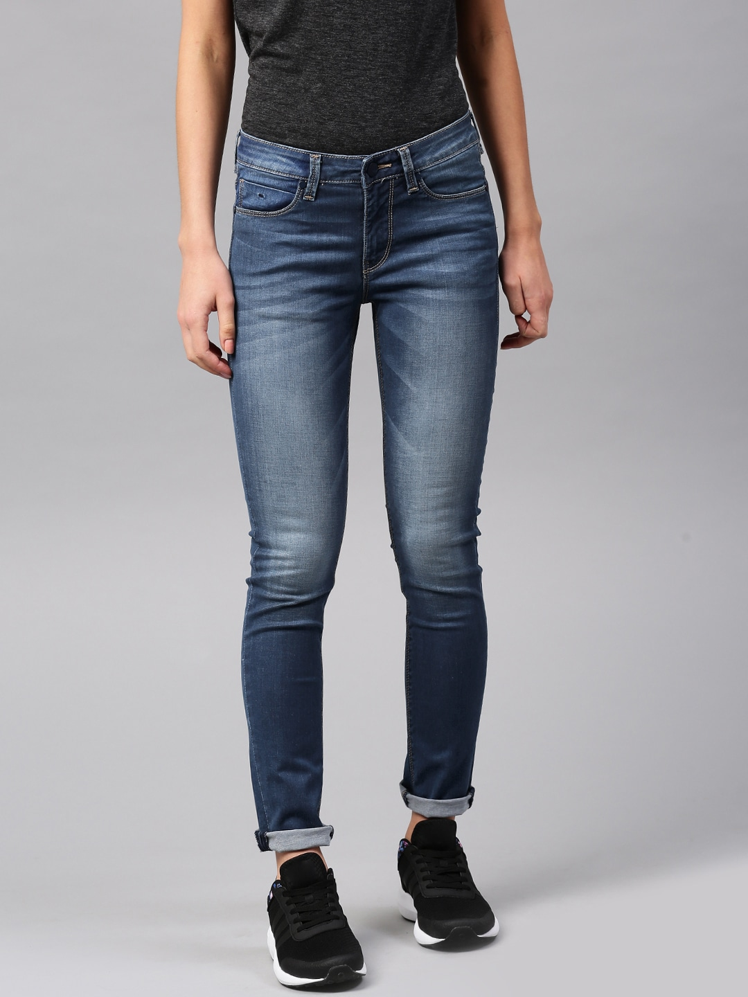 HRX by Hrithik Roshan Women Blue Skinny Fit Mid Rise Clean Look Jeans