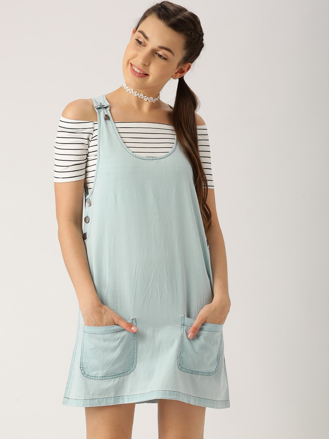 Pinafore dresses for women diy pinafore with adjustable straps denim dresses buy denim dresses online in india myntra ombrellifo Choice Image