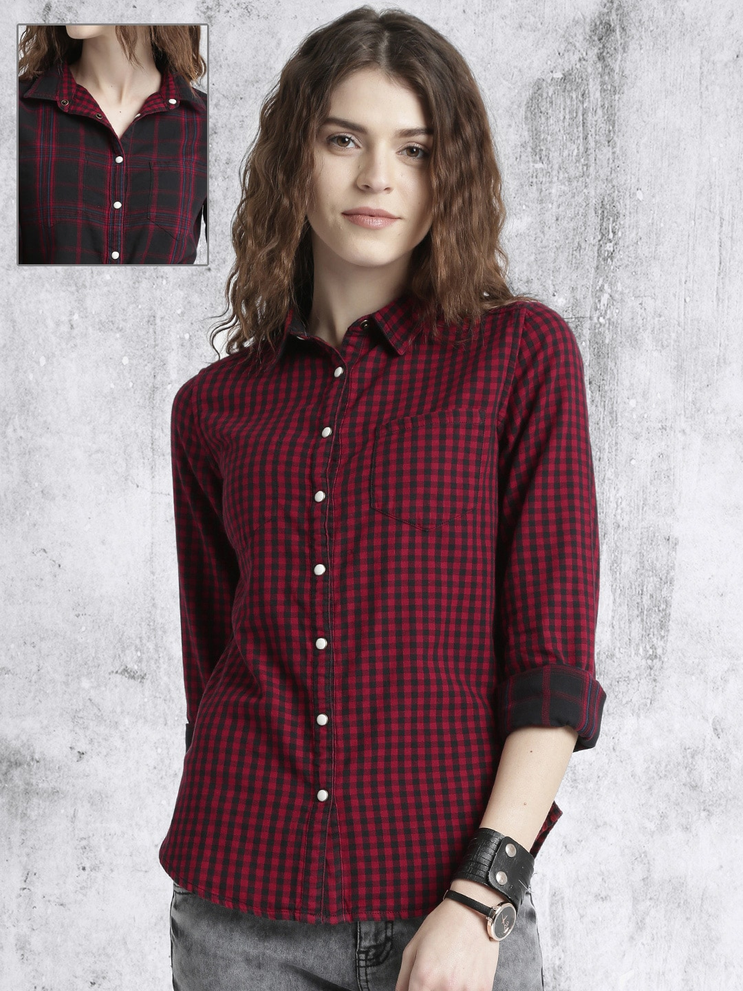 Roadster Women Red & Black Reversible Checked Casual Shirt