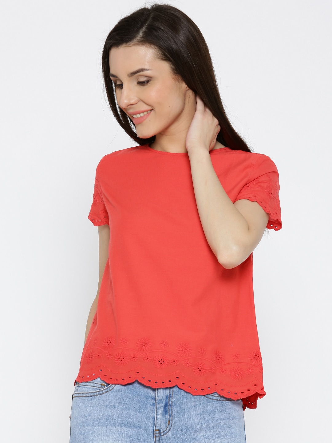 Pepe Jeans Women Red Top with Schiffli Embroidery