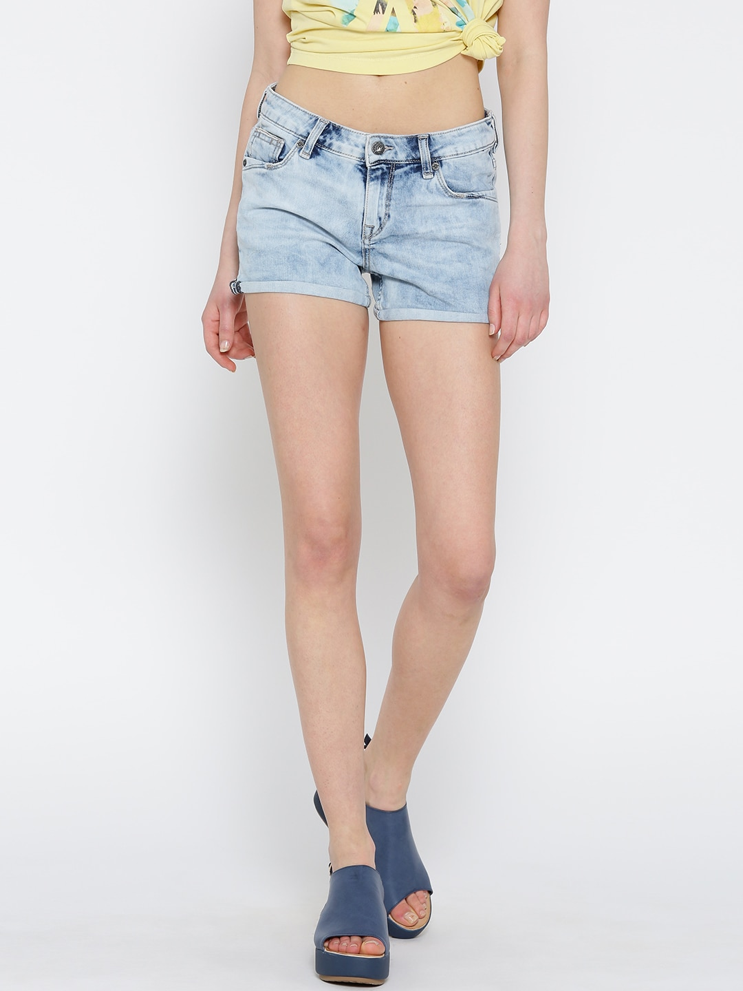 Pepe Jeans Women Blue Denim Washed Shorts