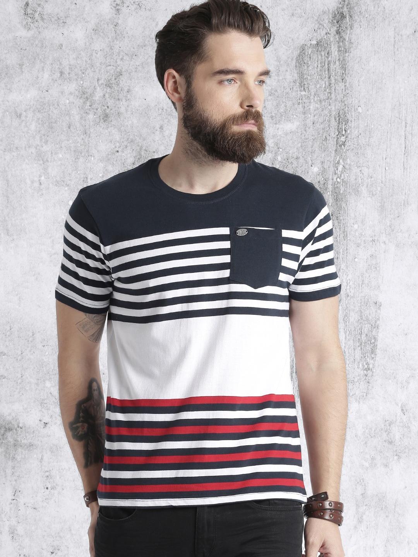 Neck White Wp0okn8 Navy Men Round Blueamp; Shirt T Roadster Striped NwOP8nXZk0