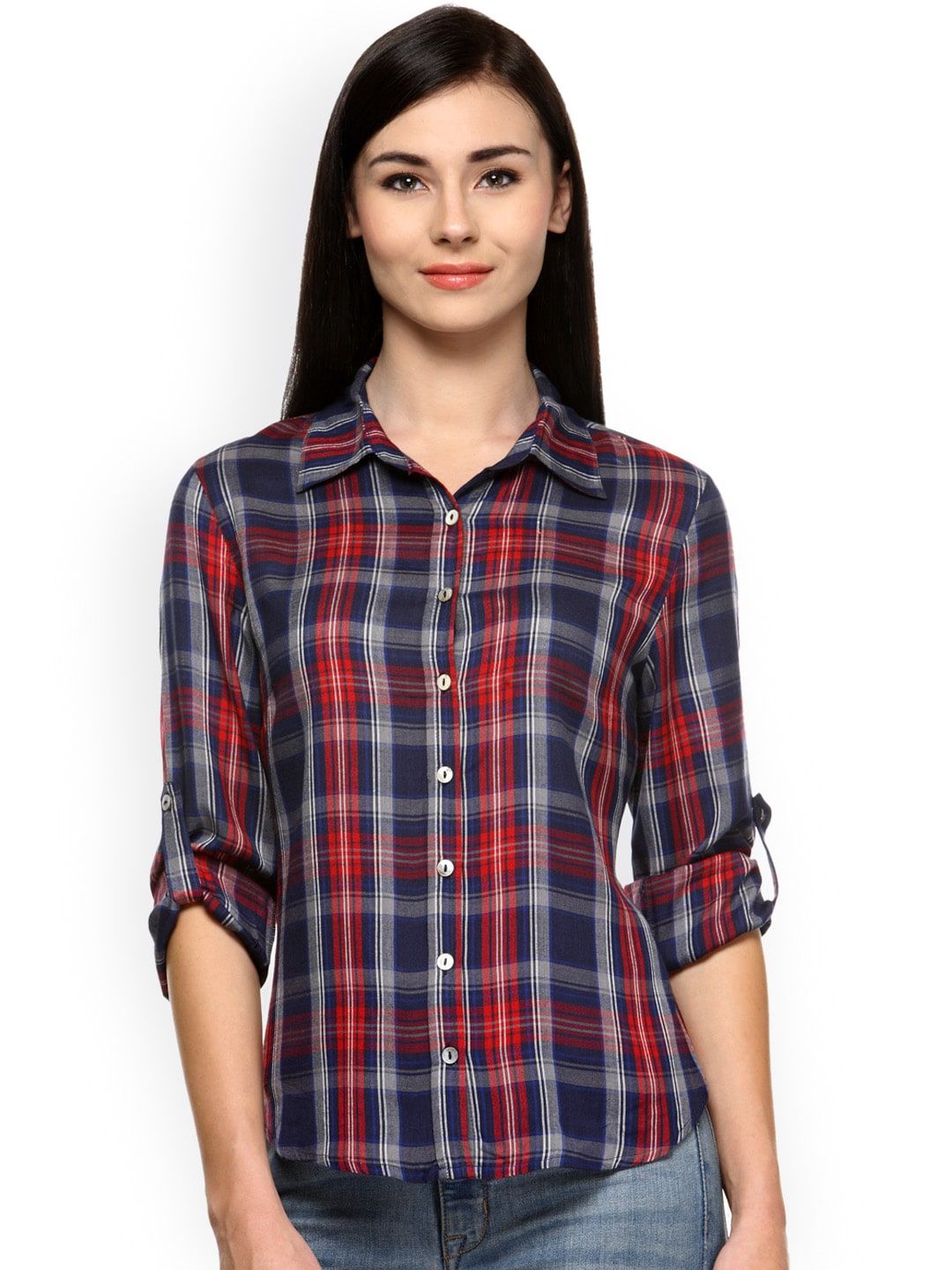 Gipsy Women Red Regular Fit Checked Casual Shirt