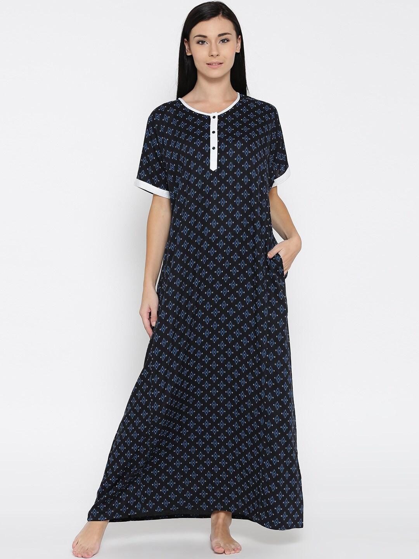 The Kaftan Company Black Printed Maxi Nightdress NT_ELIZA026