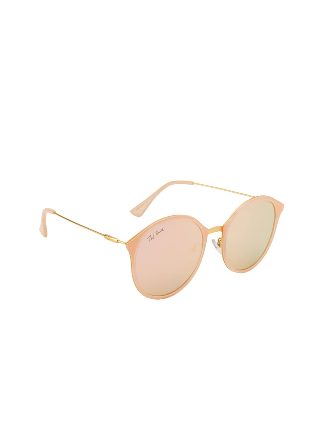 Ted Smith Women Pink Mirrored Oval Sunglasses