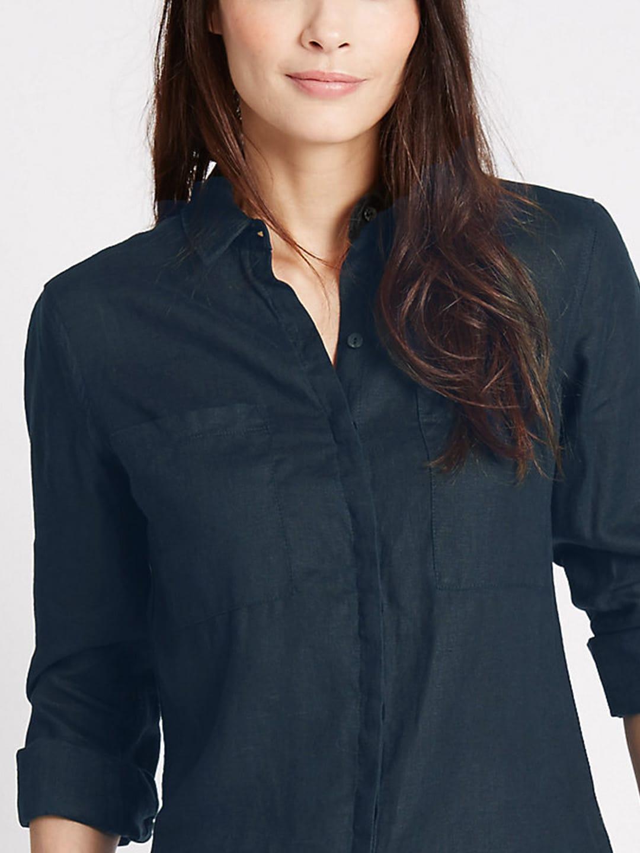 b46287d59e7002 Marks And Spencer Womens White Linen Shirt