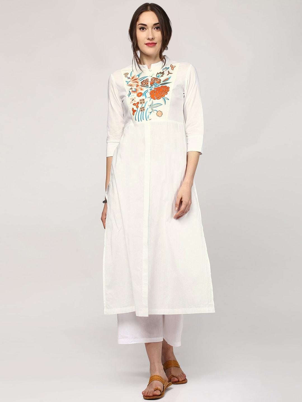 02e76a84fbd Printed White Kurtas Kurtis - Buy Printed White Kurtas Kurtis online in  India