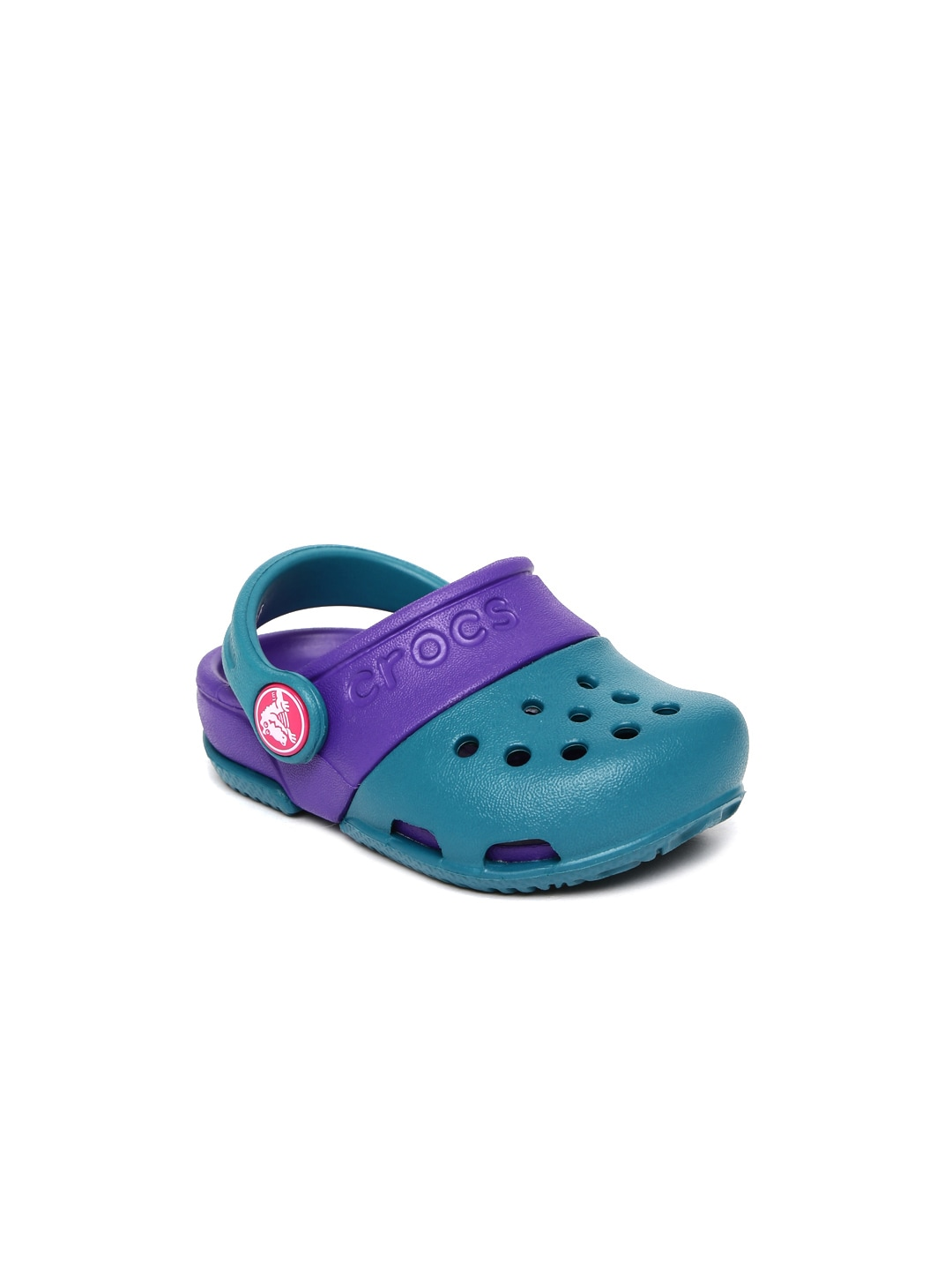 Crocs Kids Green and Purple Colourblocked Electro II Clogs