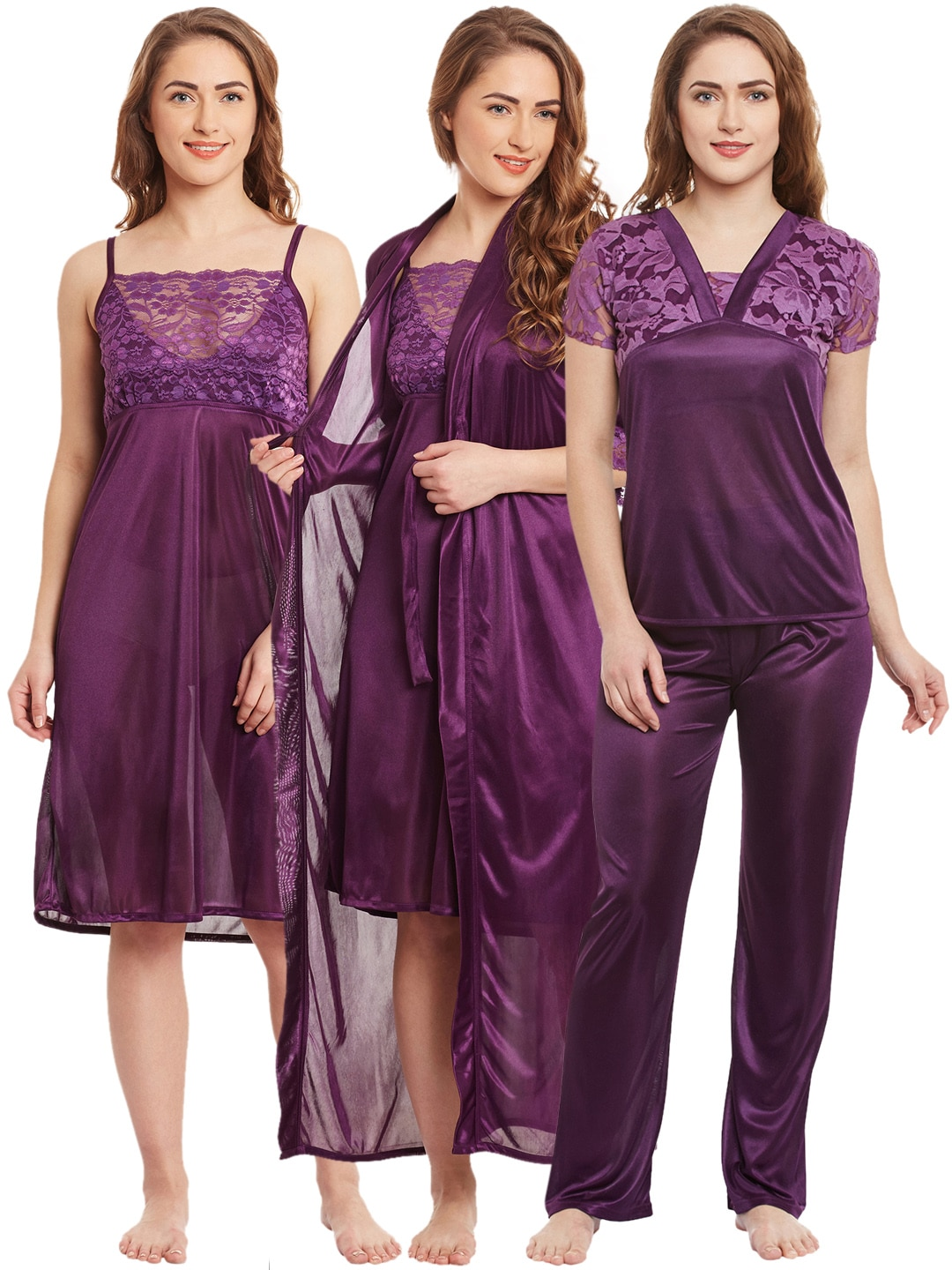 4751d37859 Purple Satin Nightdresses - Buy Purple Satin Nightdresses online in India