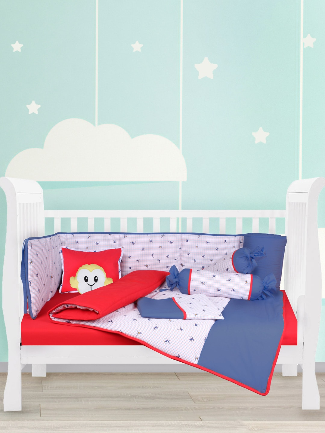 House This Blue & Red 200 TC Cotton Printed Crib Bedding Set