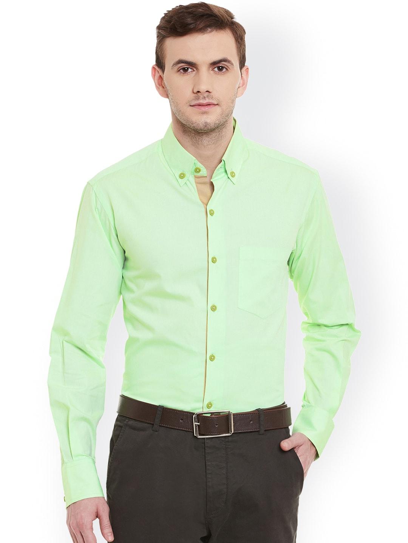 b4fa2810218 Dazzio Men Lime Green Smart Slim Fit Solid Semiformal Shirt