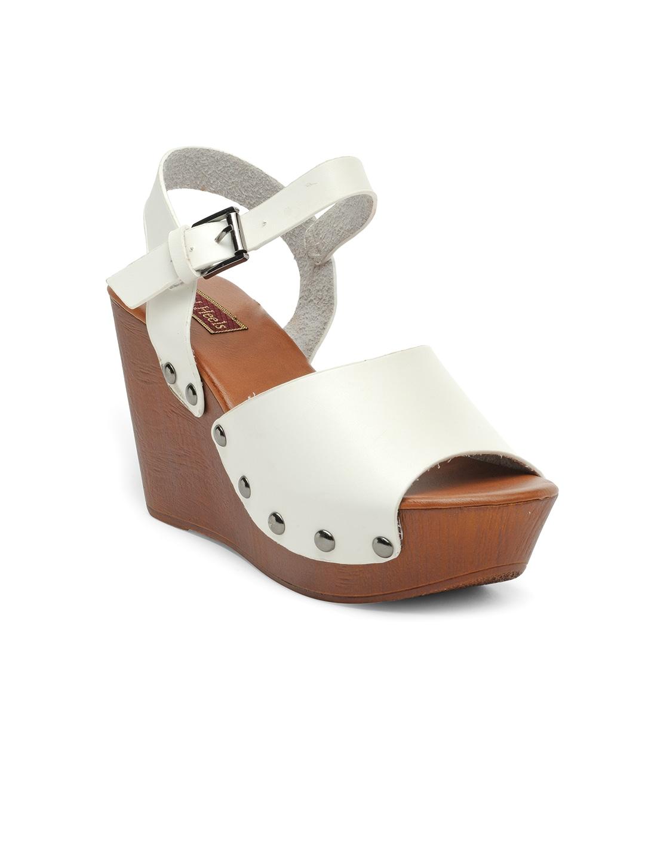 Flat n Heels Women White Wedges