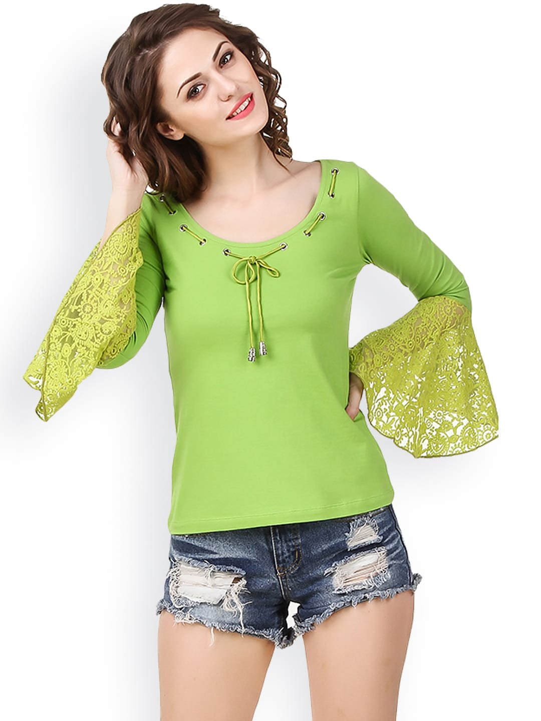 d2de8ef8cd2aff Green Lace Tops - Buy Green Lace Tops online in India