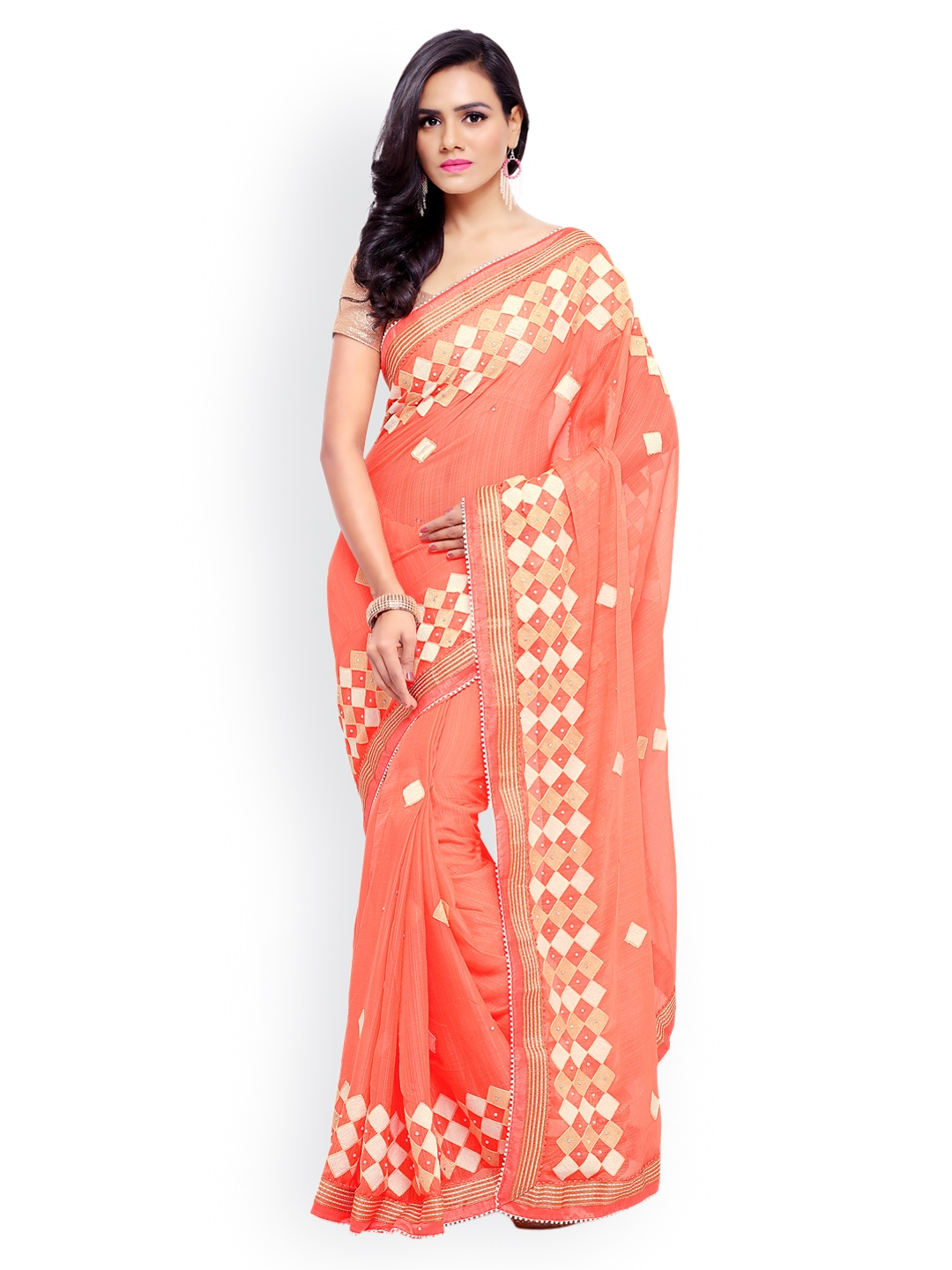 61b877059f149 Peach Saree - Buy Peach Color Sarees online
