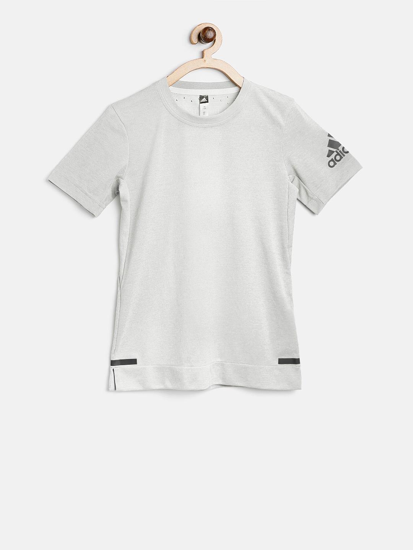 bb4d391ef ADIDAS Boys Grey Chill Solid Round Neck T-shirt