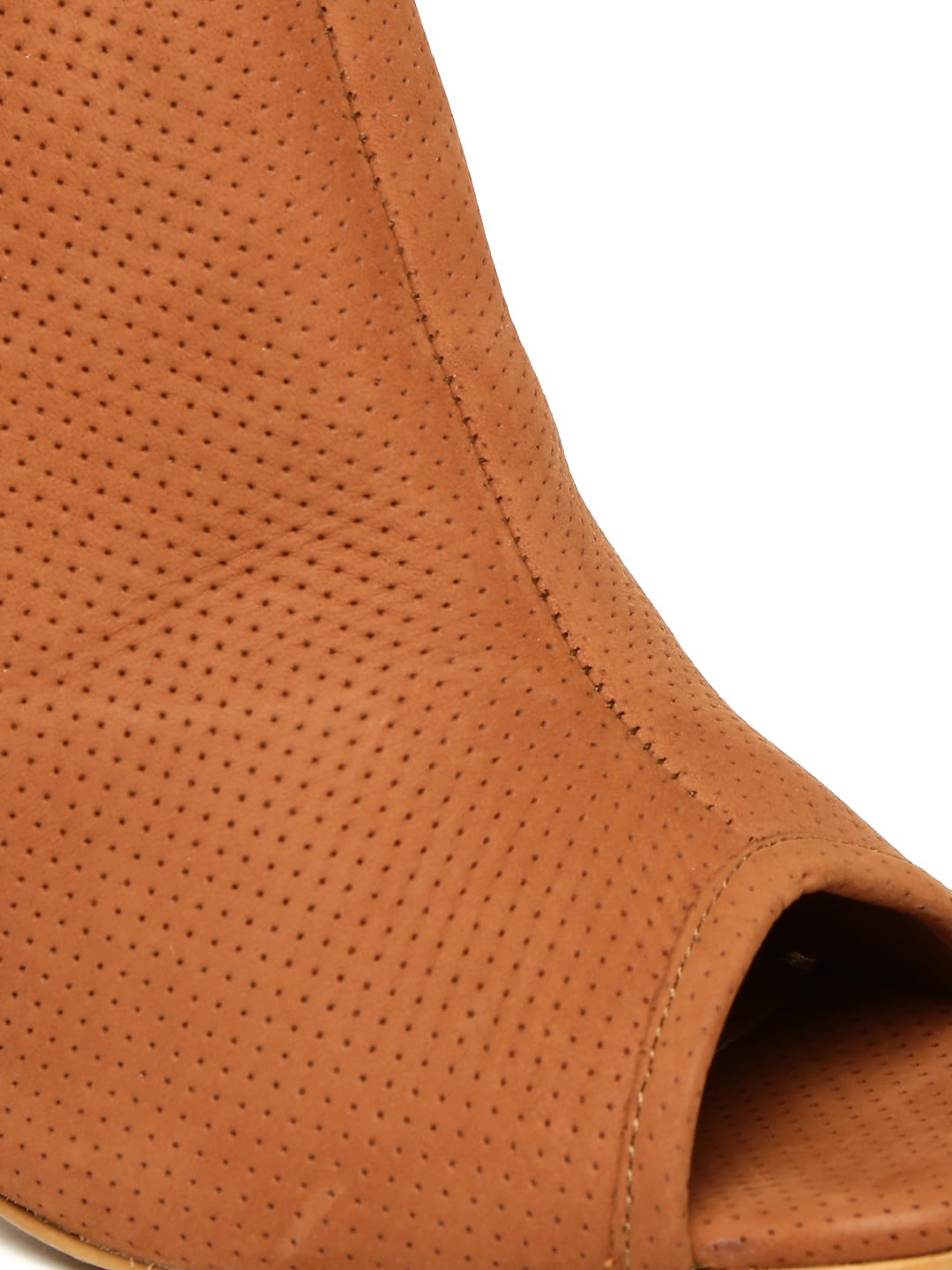 Carlton London Women Brown Solid Perforated Leather Mules