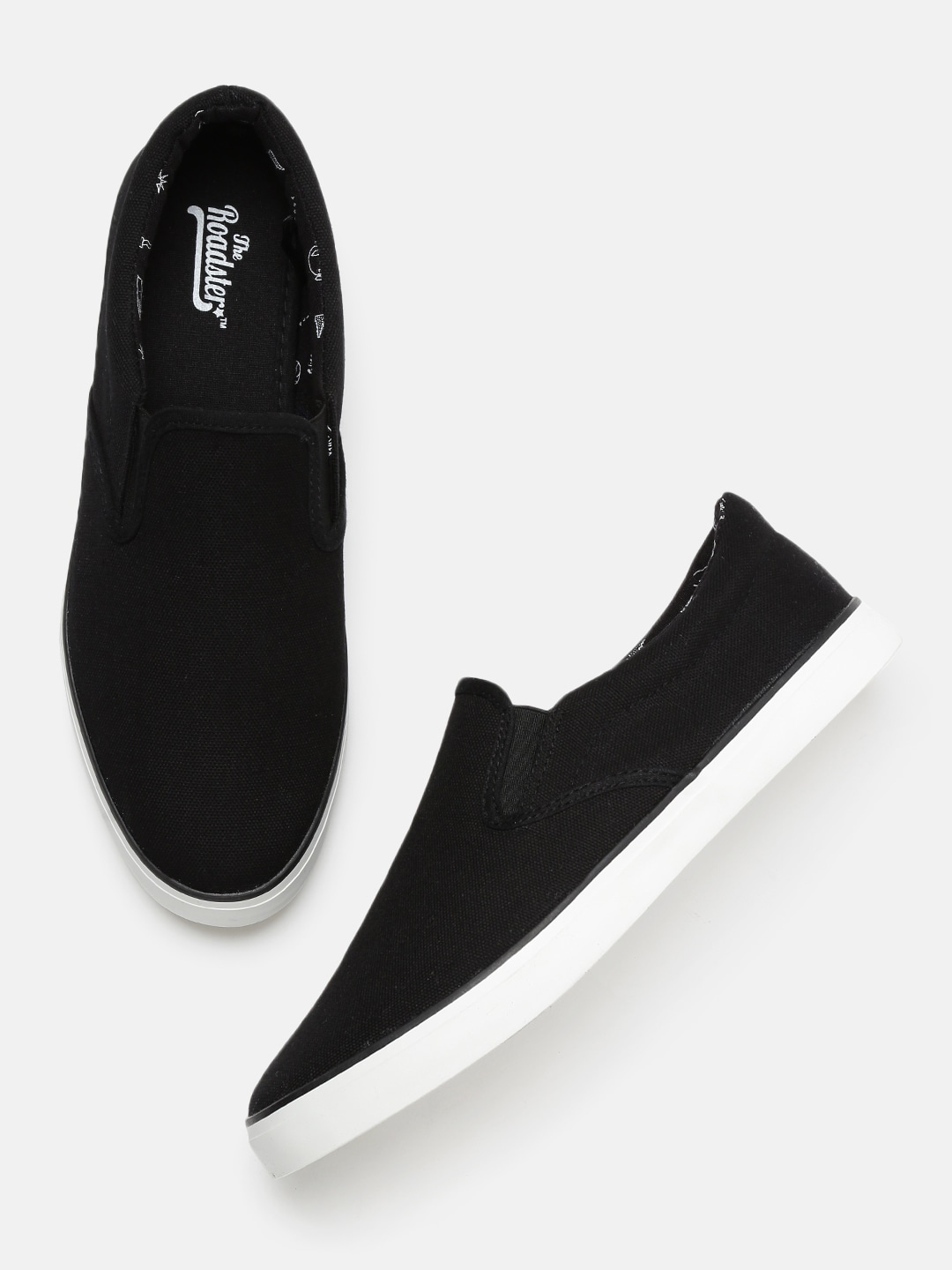 8cdfcefcb3a0b Roadster Men Black Slip-On Sneakers