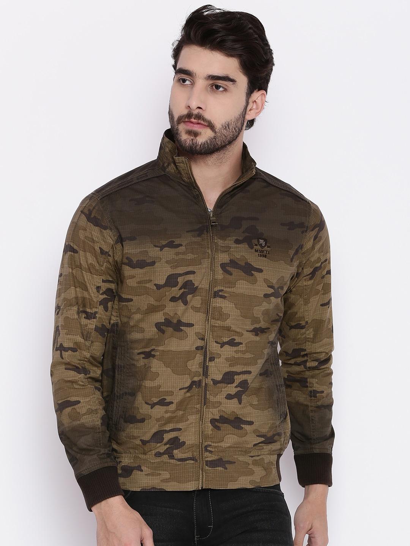 de6190425 Mufti Men Khaki Printed Open Front Jacket