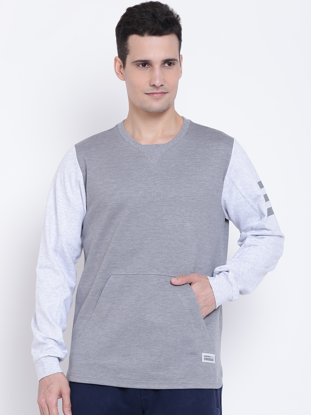129be1c1d Adidas NEO Men Grey Melange UT FAB Mix Solid Sweatshirt