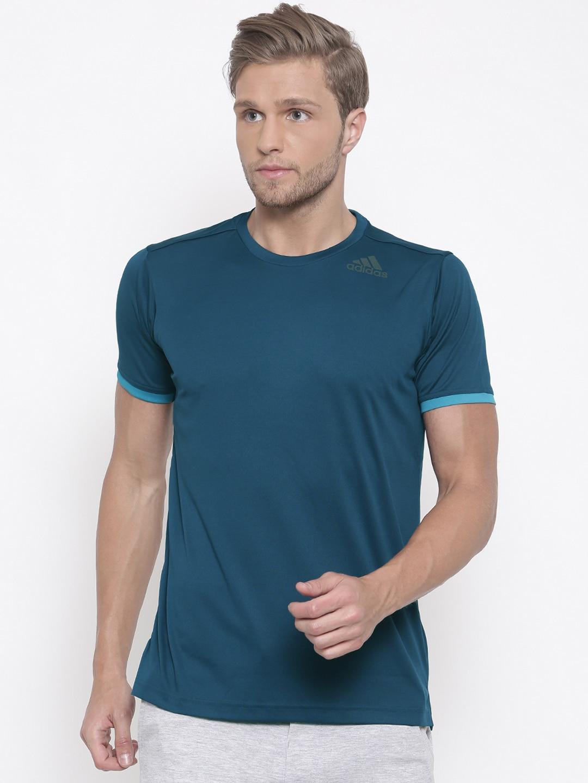 T Clean Solid Round Neck Shirt Teal Adidas Men Blue Freelift Lq3A54Rj