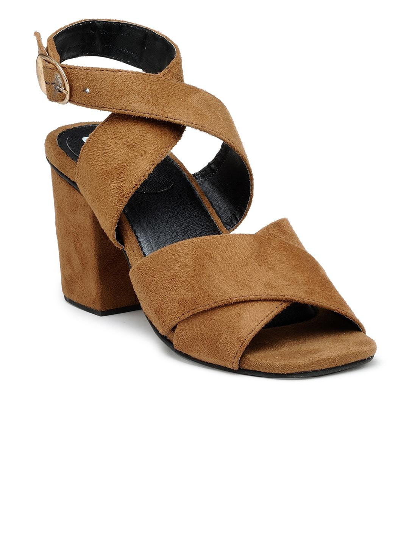 e59c17cd0eb Chalk Studio Women Brown Solid Block Heels