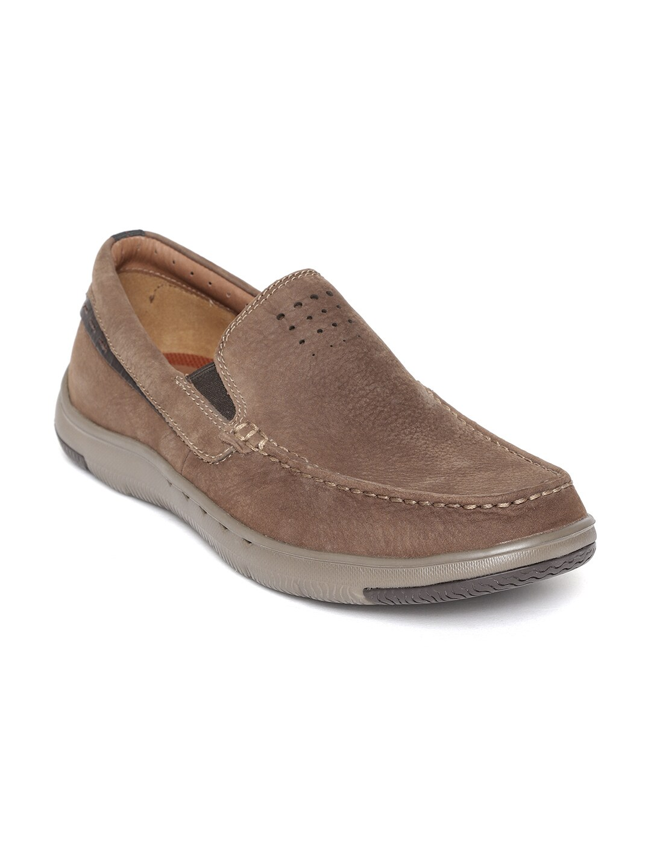 Clarks Men Brown Solid Nubuck Loafers