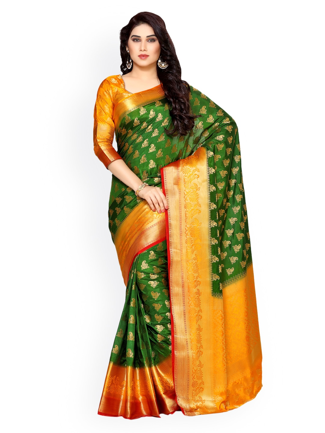 a1b5e76b64b9f Green Saree - Buy Green Color Sarees Online