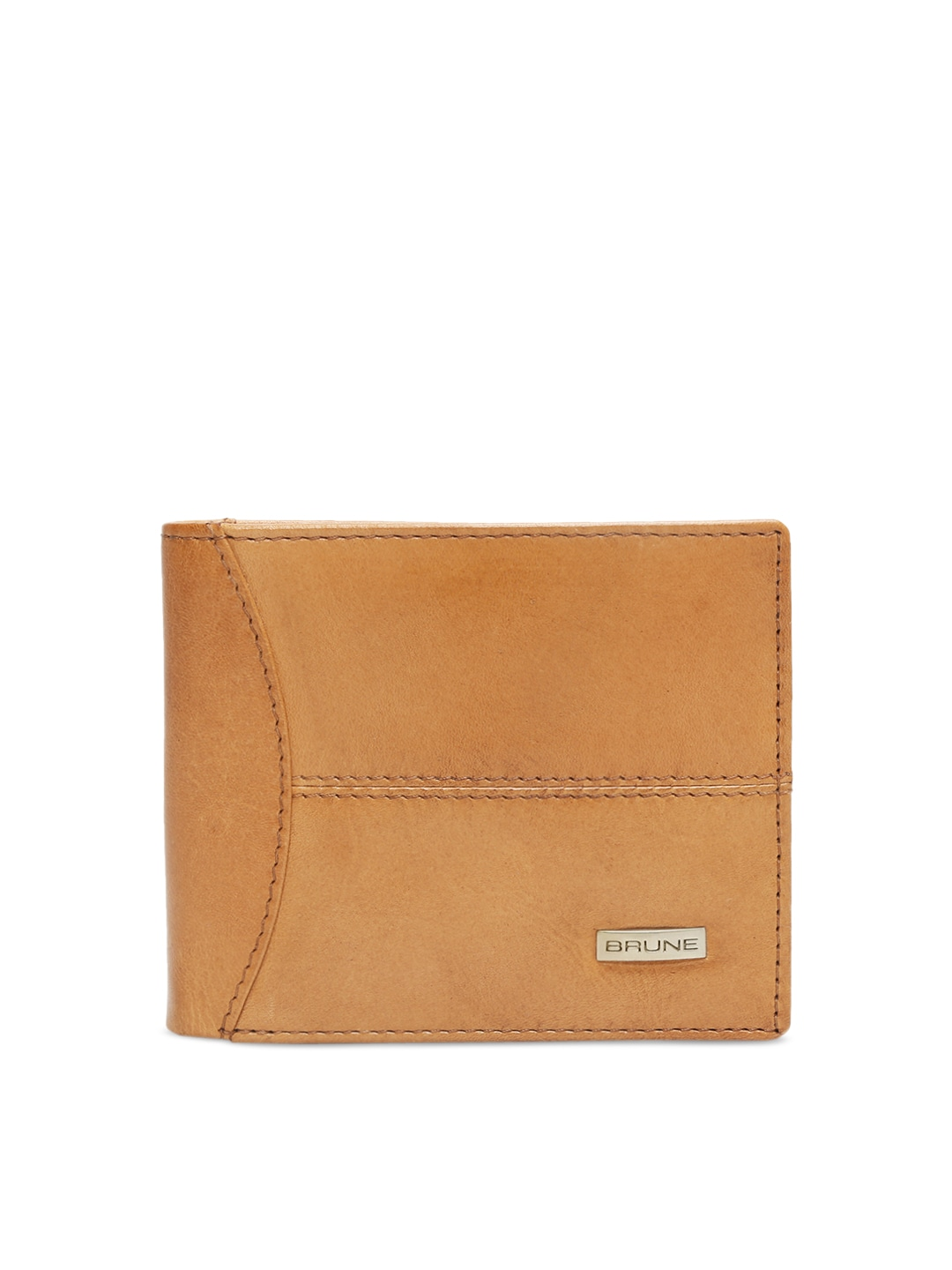1c6f6b96c6 BRUNE Men Tan Brown Solid Leather Two Fold Wallet