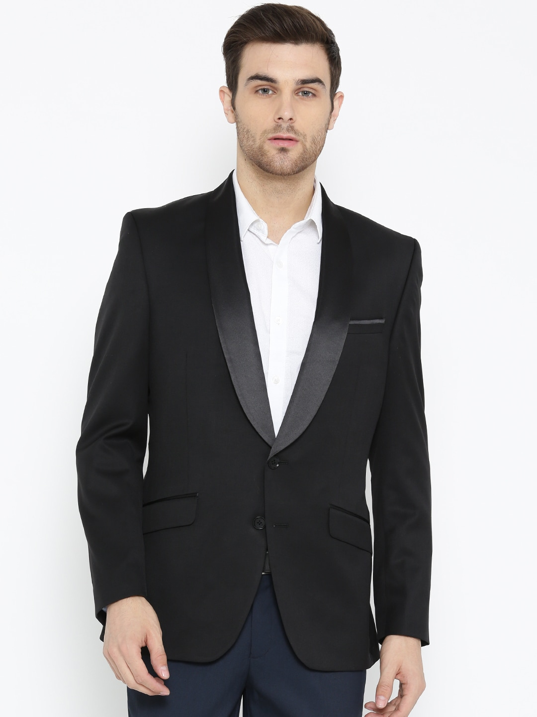 dba8aab9d Raymond Black Tailored Contemporary Fit Solid Single-Breasted Party Blazer