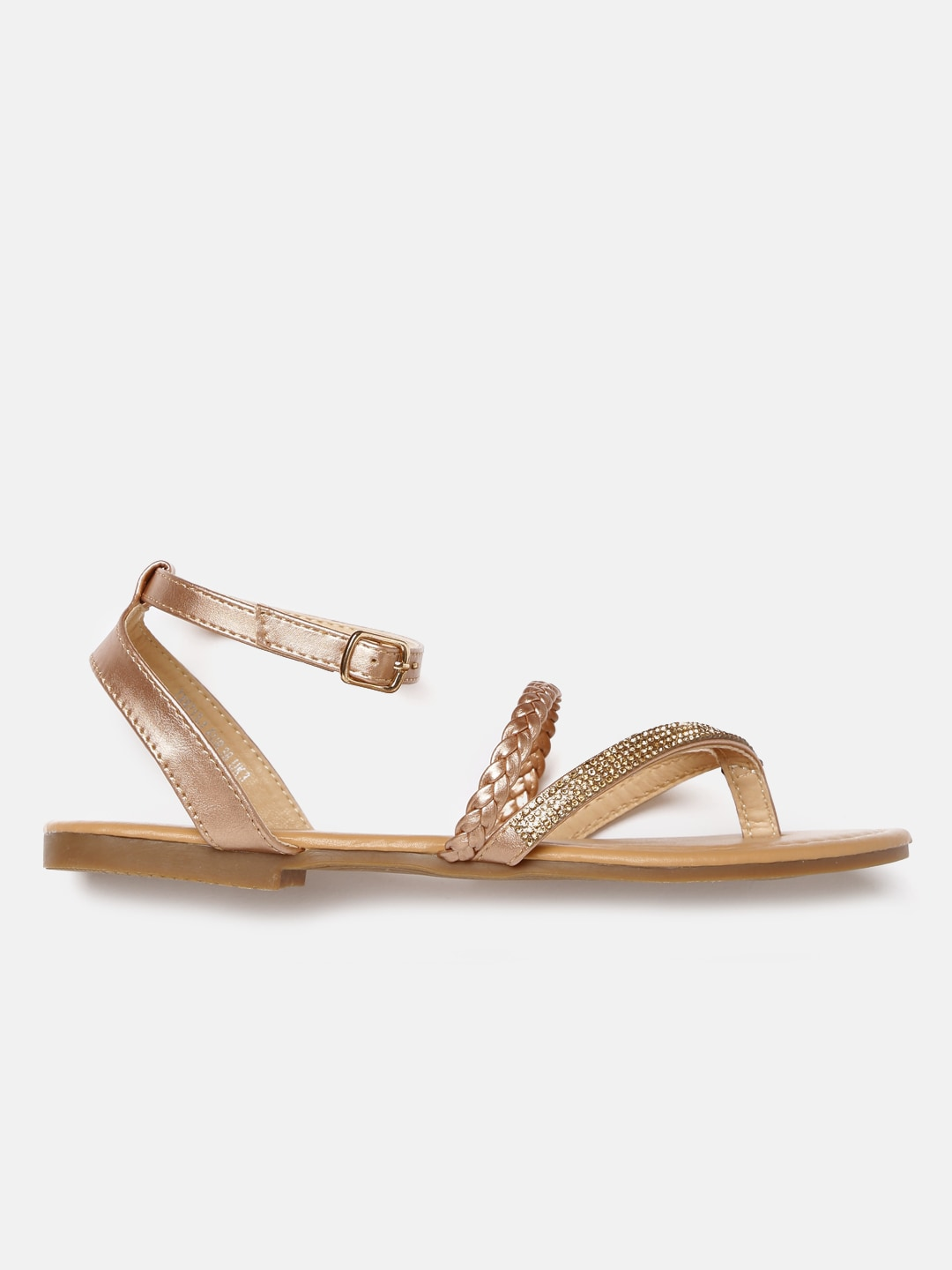 DressBerry Women Gold-Toned Solid Synthetic Open Toe Flats