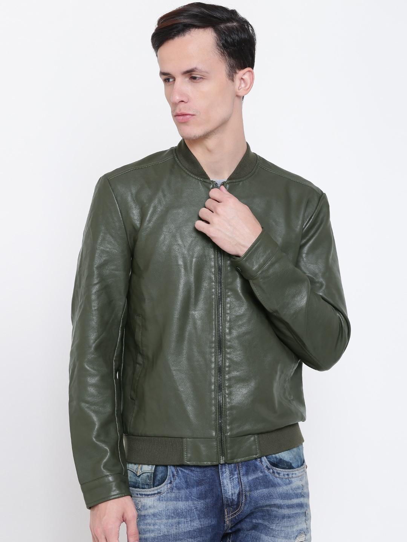 9049cd5de FOREVER 21 Men Olive Green Solid Faux Leather Bomber Jacket