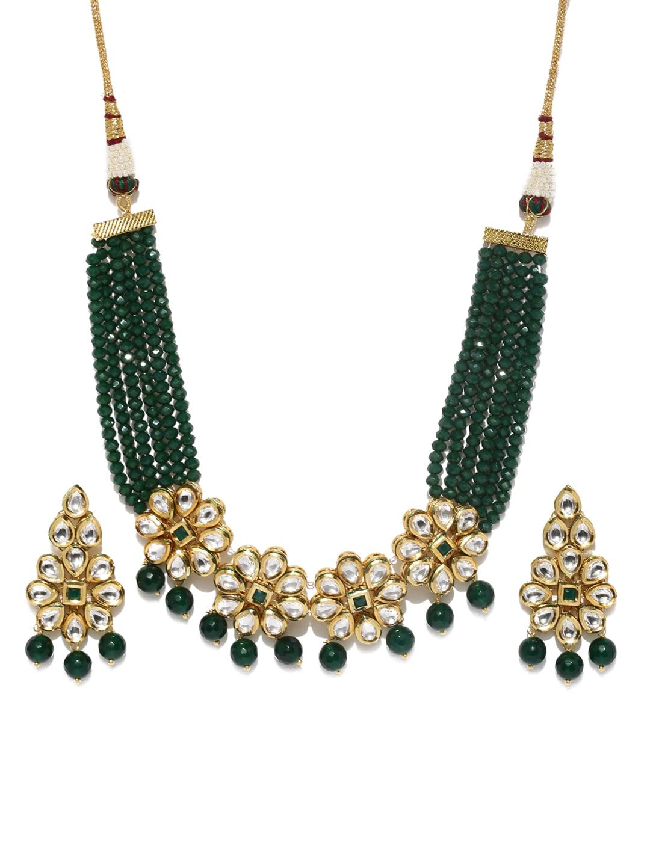 61568947dd125 Rubans Gold-Toned & Green Kundan Embellished Jewellery Set