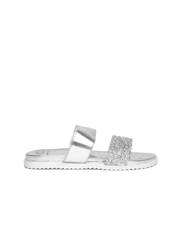 Carlton London Women Silver-Toned Embellished Open Toe Flats