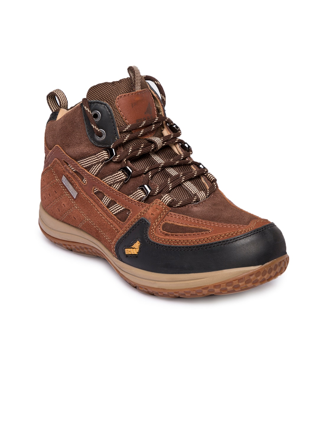 3d34342a61a Red Chief Men Brown Solid Leather Mid-Top Boots