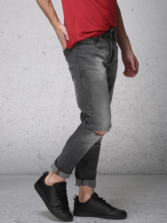 Ecko Unltd Men Charcoal Tapered Fit Mid-Rise Slash Knee Stretchable Jeans