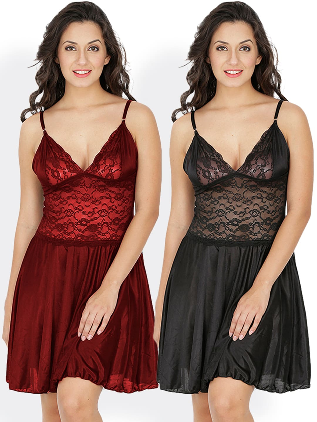 504ab403f3b82 Satin Bra Nightdress - Buy Satin Bra Nightdress online in India