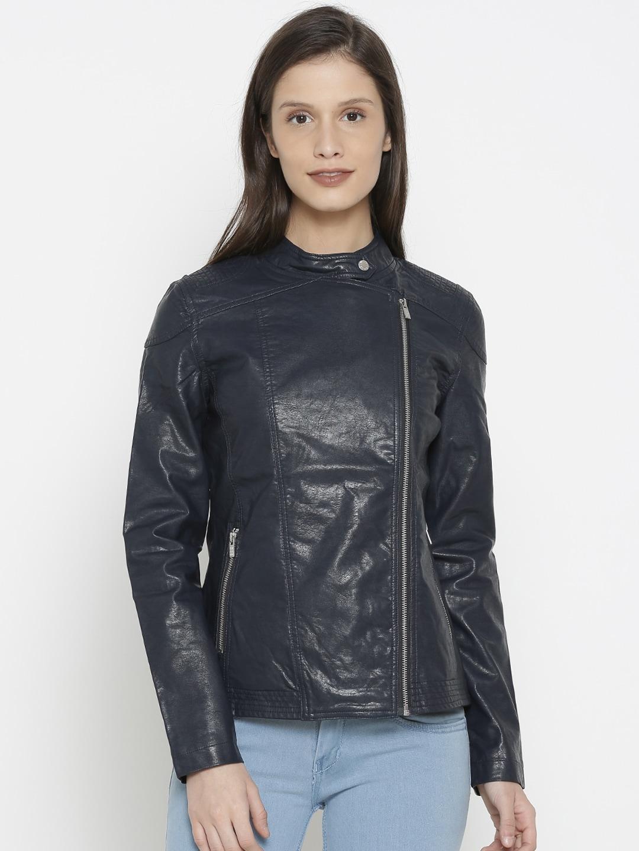 buy popular 550b3 3412c Pepe Jeans Women Navy Blue Solid Biker Jacket