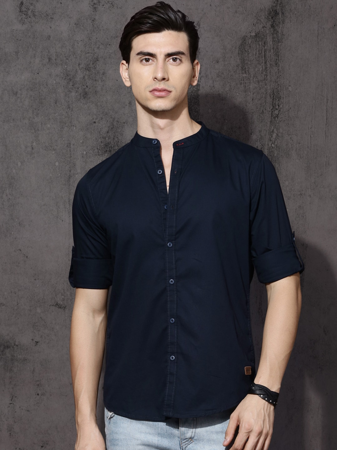 dcd8299f24 Navy Blue Blue Solid Shirt - Buy Navy Blue Blue Solid Shirt online in India