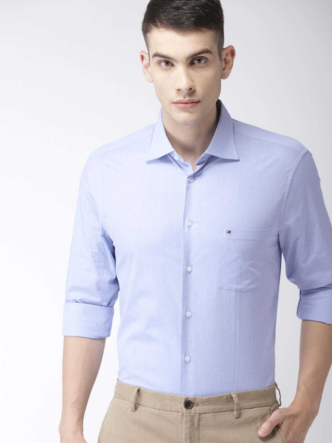 Tommy Hilfiger Men Blue Tailored Fit Checked Smart Casual Shirt