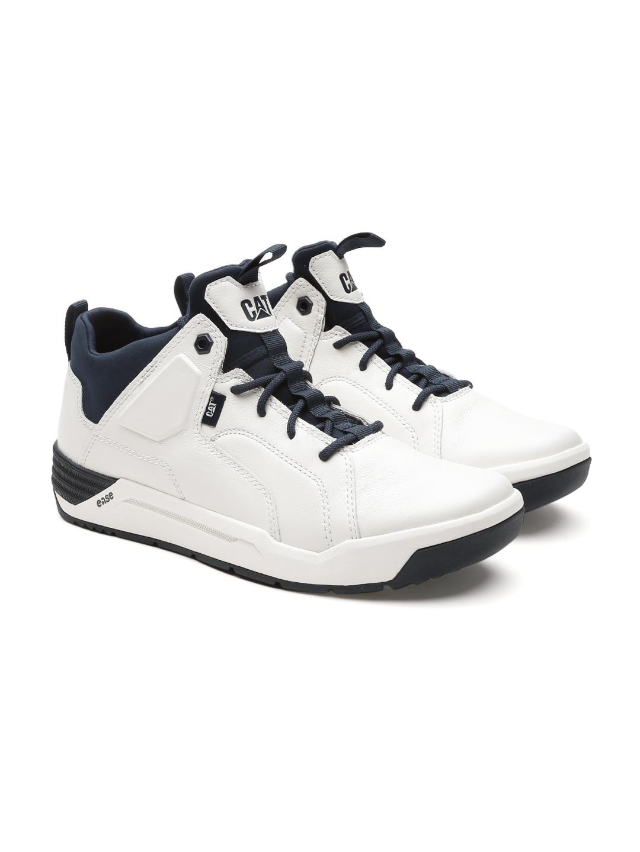7c468b75bbf4d CAT Men White Solid Leather Lowdown Sneakers