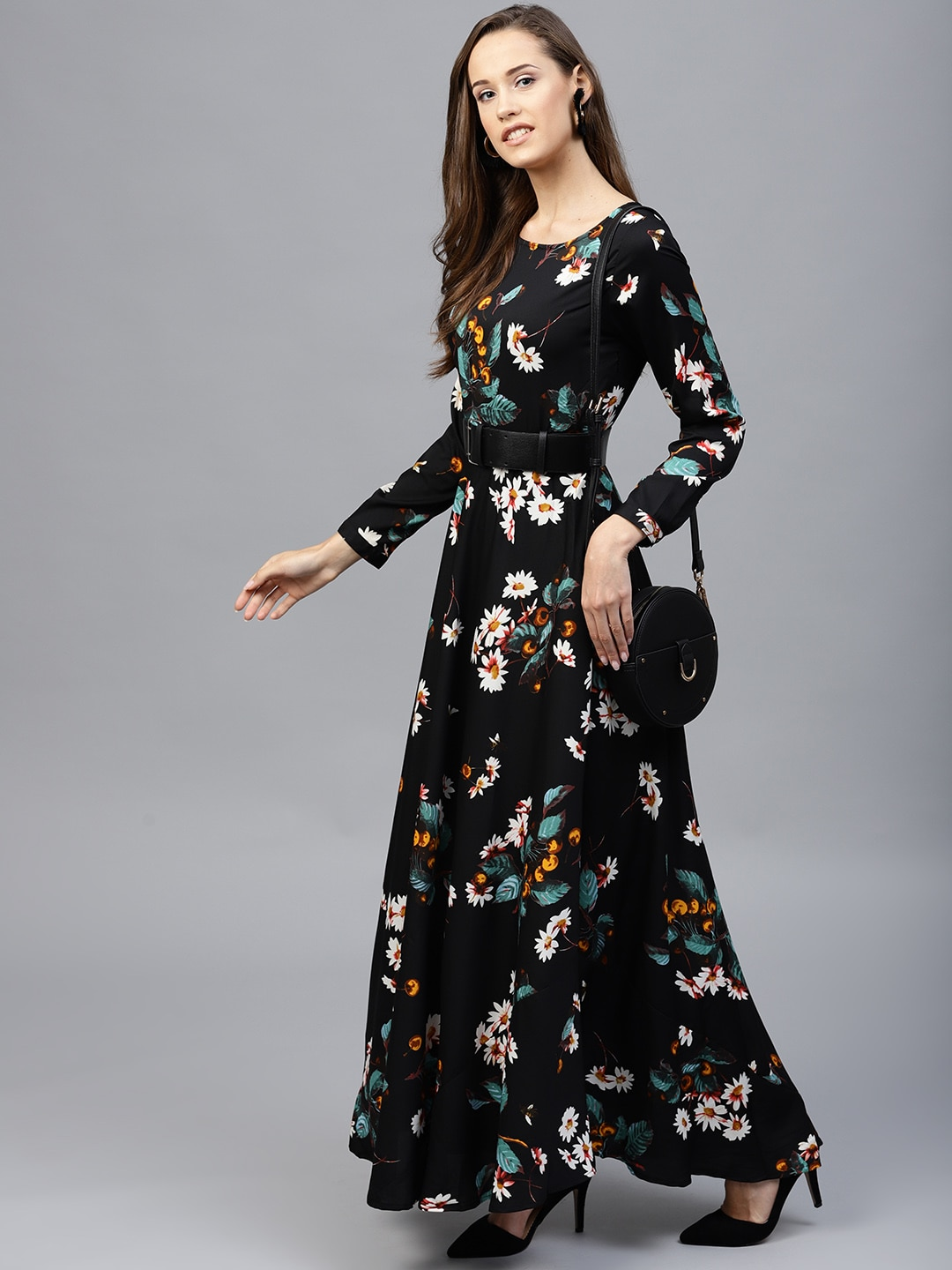 9c8728aedd8 Tokyo Talkies Women Black Printed Maxi Dress