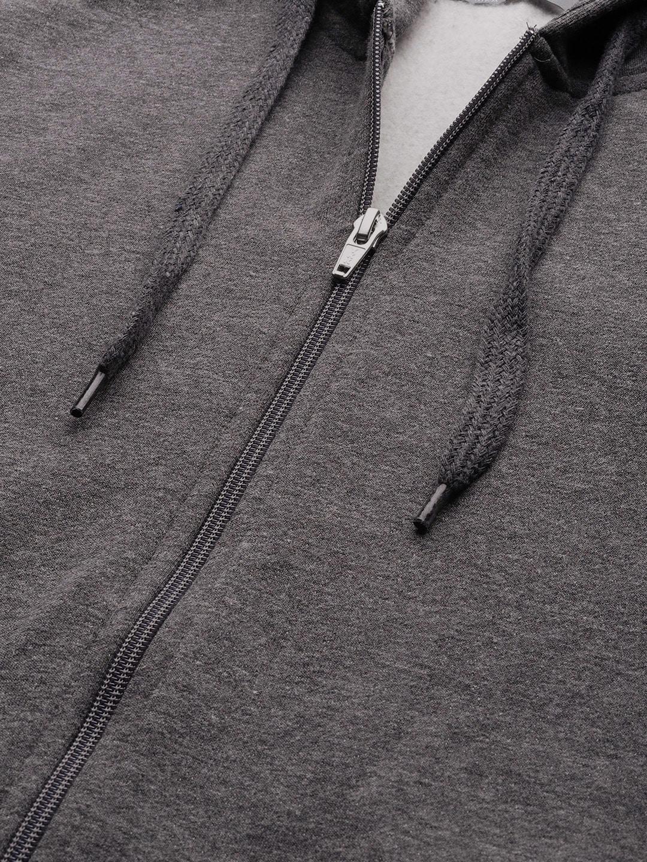 ether Men Charcoal Grey Solid Hooded Sweatshirt