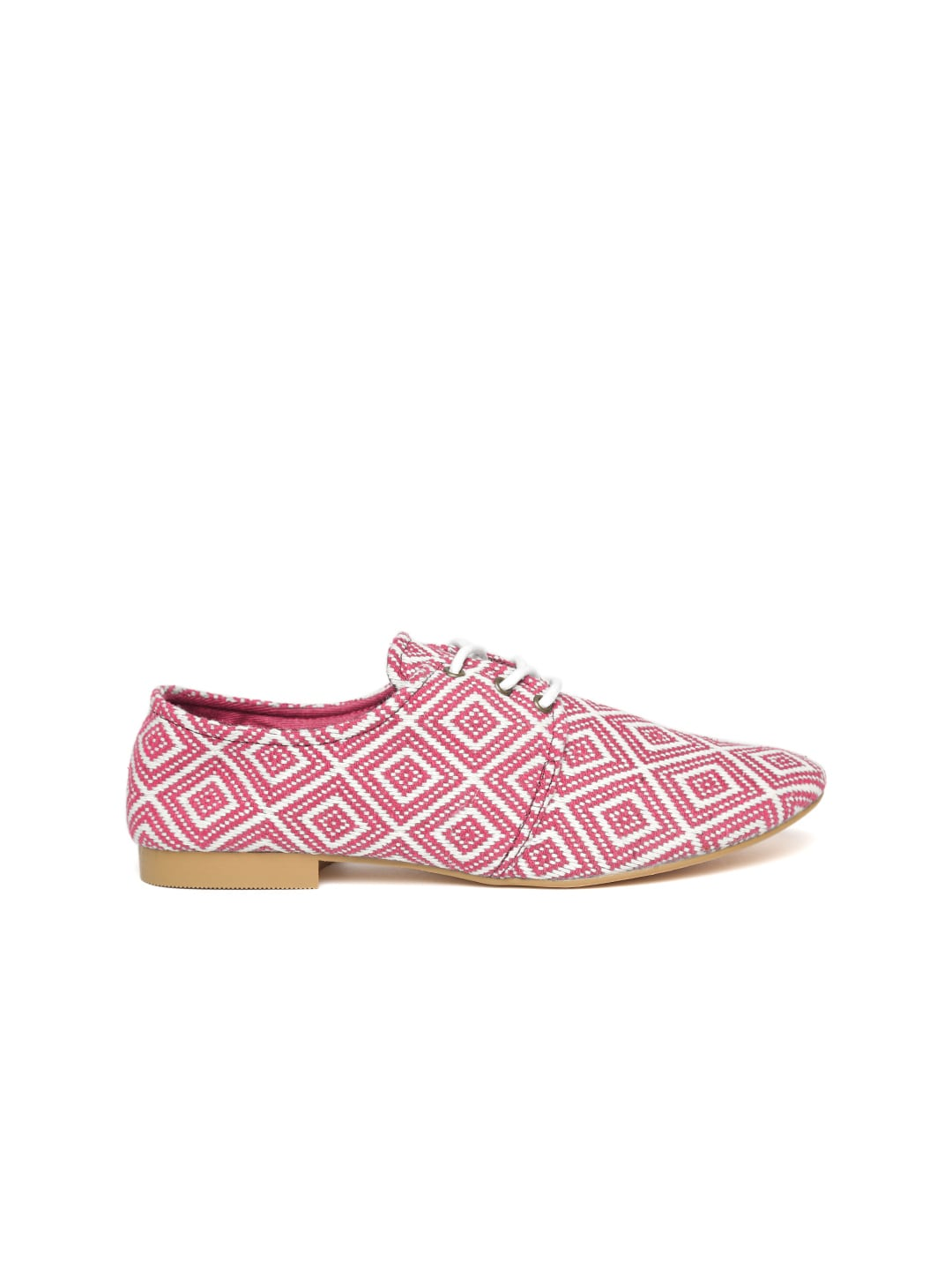 United Colors of Benetton Women Pink & White Patterned Derbys